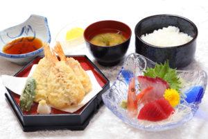 のどぐろ(アカムツ)天と海の恵み刺身定食¥1480